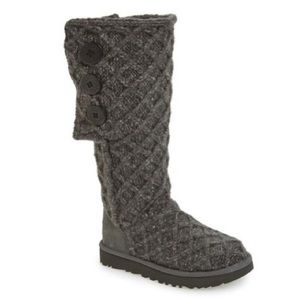 NEW UGG Lattice Cardy UGGpure Knit Boot in Grey
